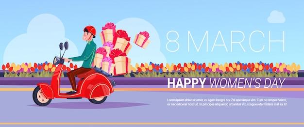 Koerier op scooterlevering van cadeaus voor gelukkig internationaal vrouwendag creatief groetkaart achtergrondontwerp