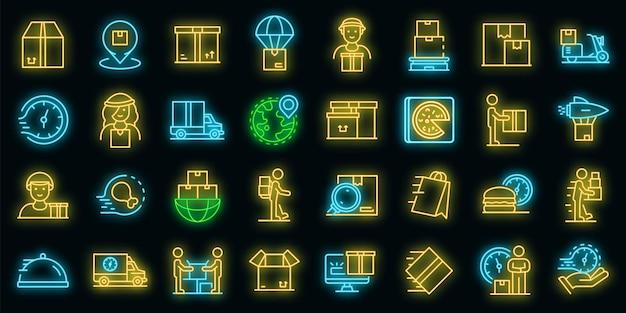 Koerier pictogrammen instellen. overzicht set van koerier vector iconen neon kleur op zwart
