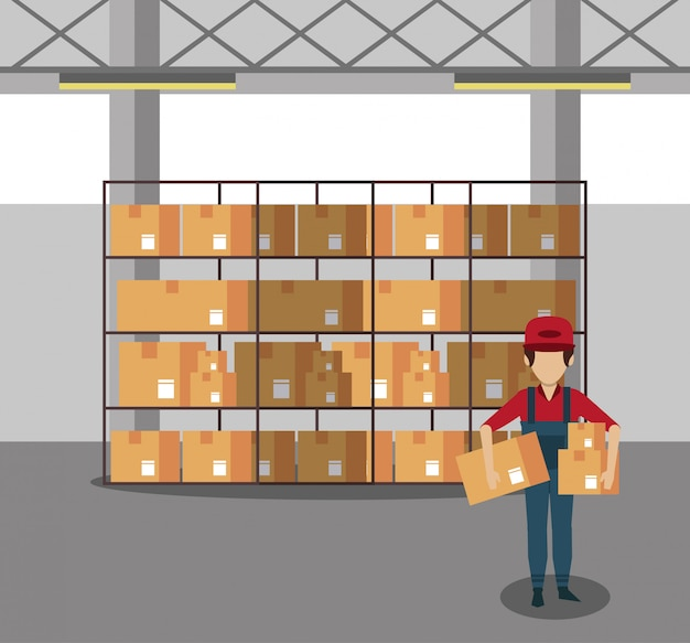 Koerier werkt in magazijn