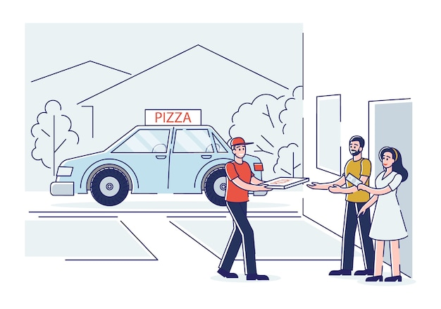 Koerierjongen bezorgt verse pizza aan klant. snelle pizza bezorgservice concept