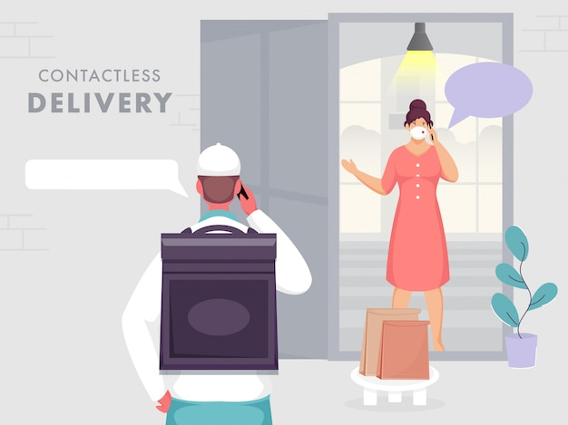 Koerierjongen praat met klantvrouw vanaf telefoon aan de deur met veilige afstand om vorm covid-19 of coronavirus te beschermen.