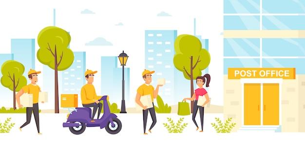Koeriers in uniform met pakketten lopen of rijden scooter naar postkantoor