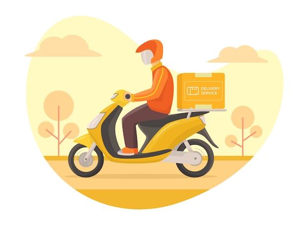 Koeriersdienst snel rijdende scooter