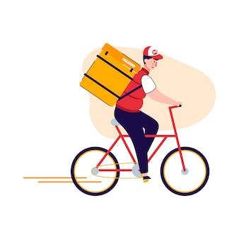 Koeriersmens in de rugzak van de voedsellevering die een fiets berijdt