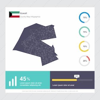Koeweit kaart & vlag infographics sjabloon