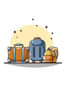 Koffer en tassen voor op reis met de hand tekenen
