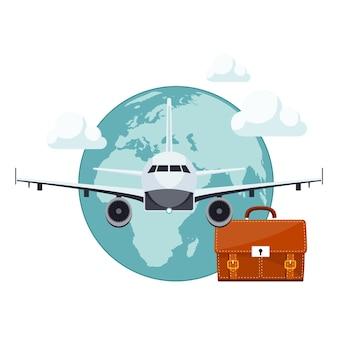 Koffer en vliegtuig icoon