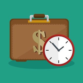 Koffer geld klokpictogram veiligheid