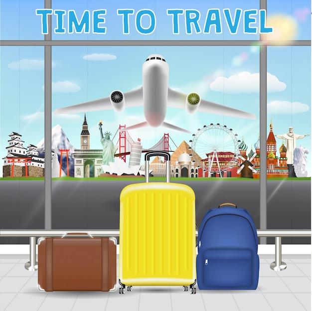 Koffer in luchthaven met vliegtuig reizen landmark