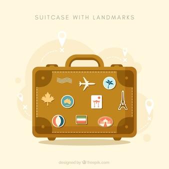 Koffer met bezienswaardigheden achtergrond in vlakke stijl