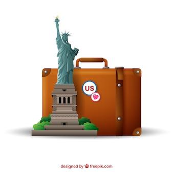 Koffer met oriëntatiepunten in realistische stijl