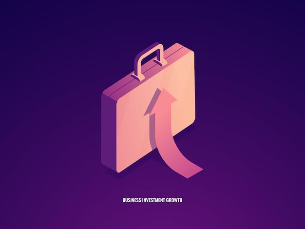 Koffer met pijl omhoog, loopbaangroei, zakelijk management en investeringssucces