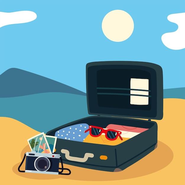 Koffer op het strand