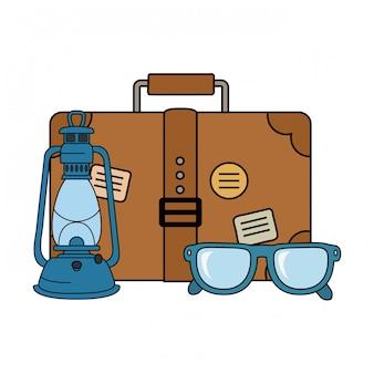 Koffer reizen met bril en camping pictogram
