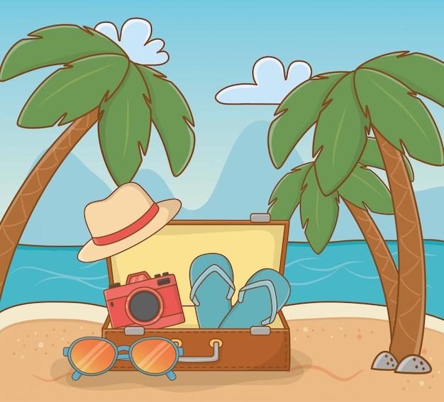 Koffer reizen op het strand