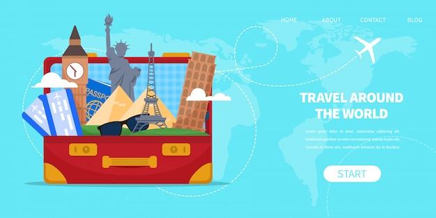 Koffer tas met cartoon beroemde bezienswaardigheden vector