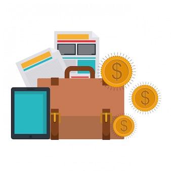 Koffer van het bedrijfsleven met munten en documenten