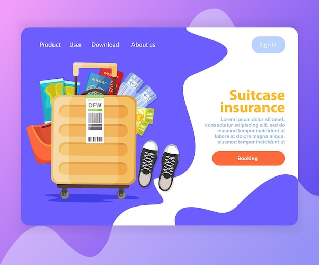 Koffer verzekering concept bestemmingspagina