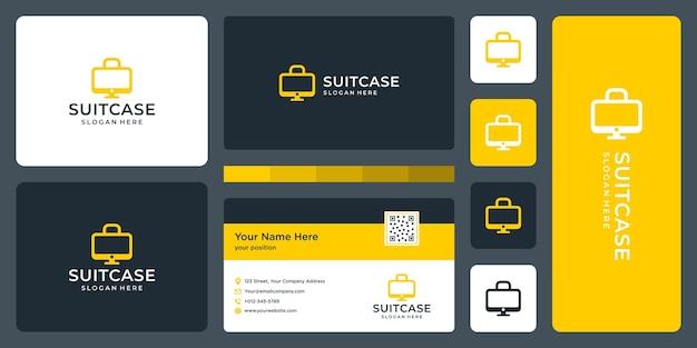 Kofferlogo en monitorvormlogo. visitekaartje ontwerp