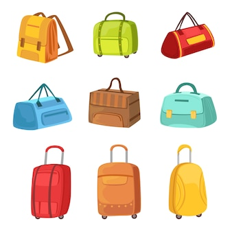 Koffers en andere bagage tassen set van pictogrammen