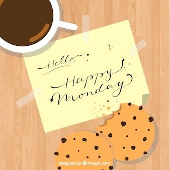 Koffie achtergrond met koekjes en gelukkige maandag notitie