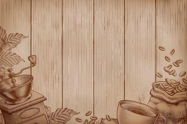 Koffie achtergrond op houten planken in gravure stijl