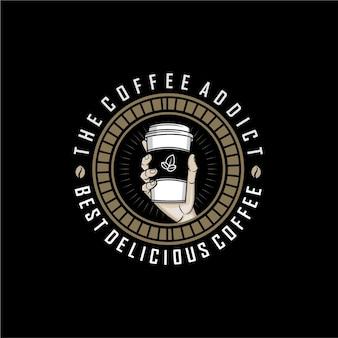 Koffie addict logo sjabloon