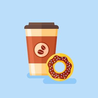 Koffie afhaalmaaltijden met chocolade geglazuurde donut. vlakke stijl illustratie.
