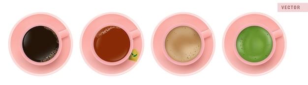 Koffie americano, zwarte thee, latte en matcha groene thee in roze beker, bovenaanzicht