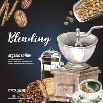 Koffie arabica bonen tas met koffiekop americano, kaneel koffiezetapparaat aquarel illustratie