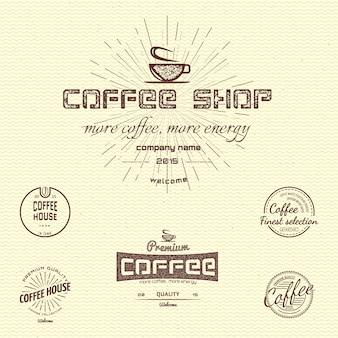 Koffie badges logo's en labels voor elk gebruik, op een witte achtergrond.