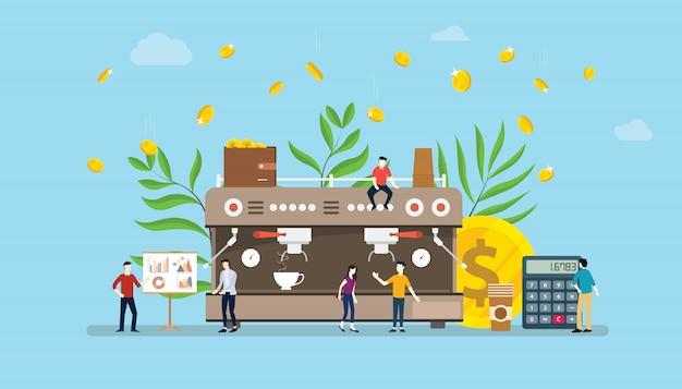 Koffie bedrijfsconcept met de groei van de geldinvestering
