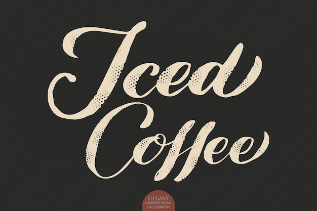 Koffie belettering. hand getekende kalligrafie ijskoffie. elegante moderne kalligrafie inkt illustration.lettering.