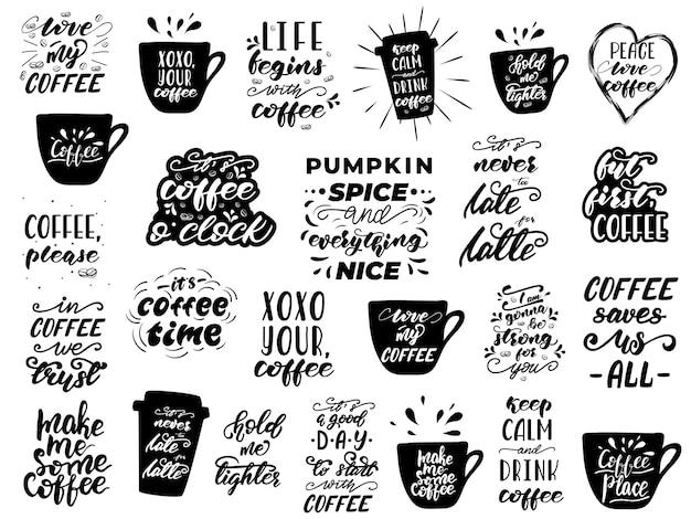 Koffie belettering set. quotes voor koffieliefhebbers.
