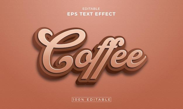 Koffie bewerkbaar 3d-teksteffect premium vector