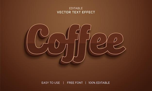 Koffie bewerkbare 3d-teksteffect premium vector