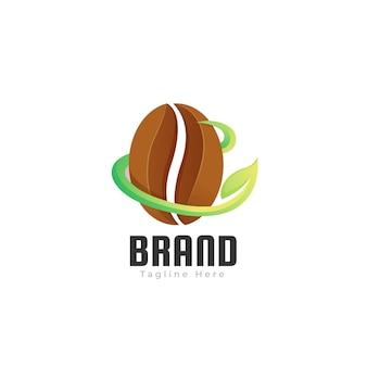 Koffie blad gradiënt logo