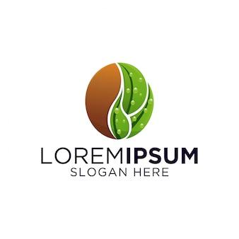 Koffie blad logo ontwerp