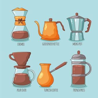 Koffie brouwen methoden concept