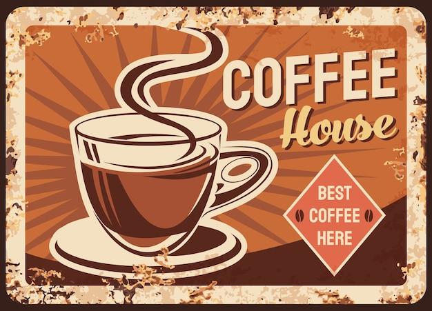 Koffie, café metalen plaat of roestige poster, retro teken van oud restaurant.