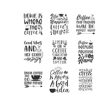Koffie citaat belettering van ontwerp
