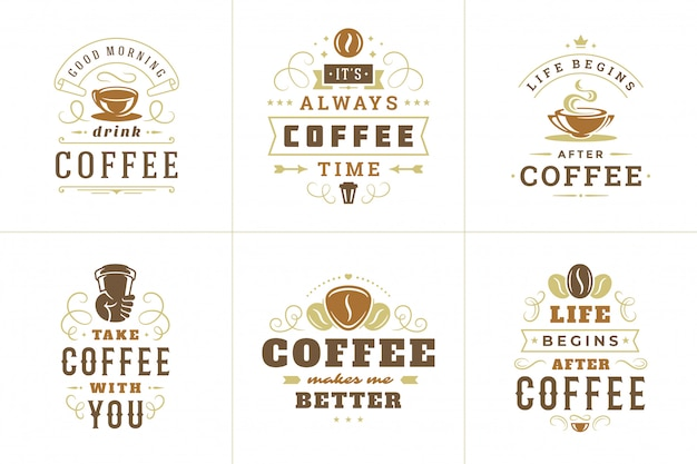 Koffie citeert vintage typografisch citaat voor logo