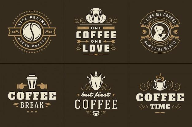 Koffie citeert vintage typografisch logo