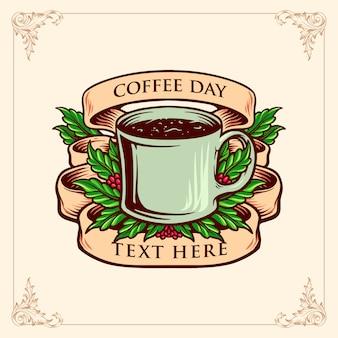 Koffie dag glas met vintage illustraties