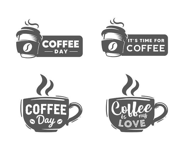 Koffie dag retro logo sjabloon