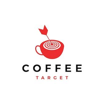 Koffie doel pijl logo vector pictogram illustratie