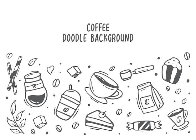 Koffie doodle achtergrondelement