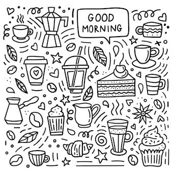 Koffie doodle set. goedemorgen tekstballon
