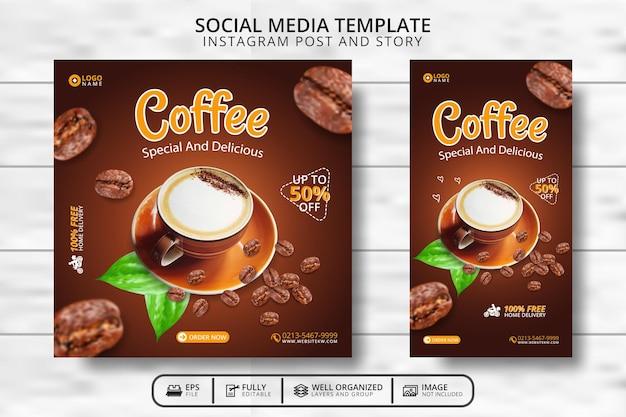 Koffie drink menu social media post template promotie