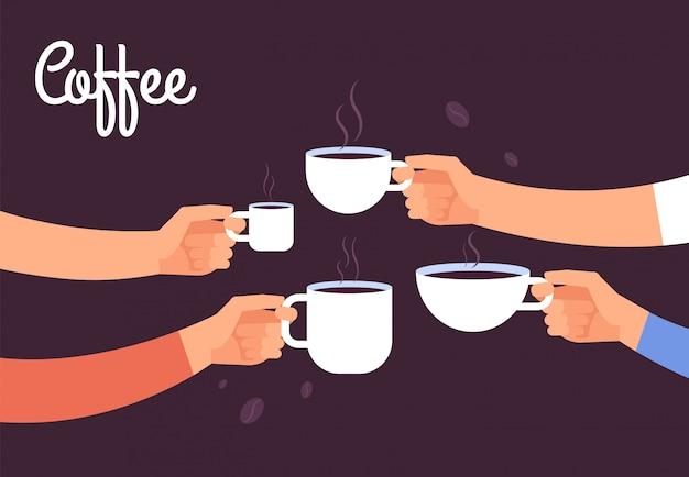 Koffie drinken concept. vrienden drinken koffie bij het ontbijt.